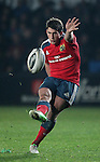 Fly-half Ian Keatley of Munster Rugby successfully kicks the conversion.<br /> <br /> Guiness Pro 12<br /> Newport Gwent Dragons v Munster Rugby<br /> Rodney Parade<br /> 21.11.14<br /> ©Steve Pope-SPORTINGWALES