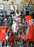 Texas-Arlington Mavericks center Stuart Lagerson (5) goes in for a lay up  in the game between the UTA Mavericks and the Houston Baptist Huskies held at the University of Texas in Arlington's Texas Hall in Arlington, Texas. UTA defeats Houston Baptist 72 to 57