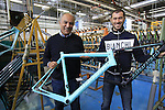 Aldo and Francesco holding the new Specialissima frame, Bianchi Factory, Treviglio, Italy. 30th September 2015.<br /> Picture: Eoin Clarke | Newsfile