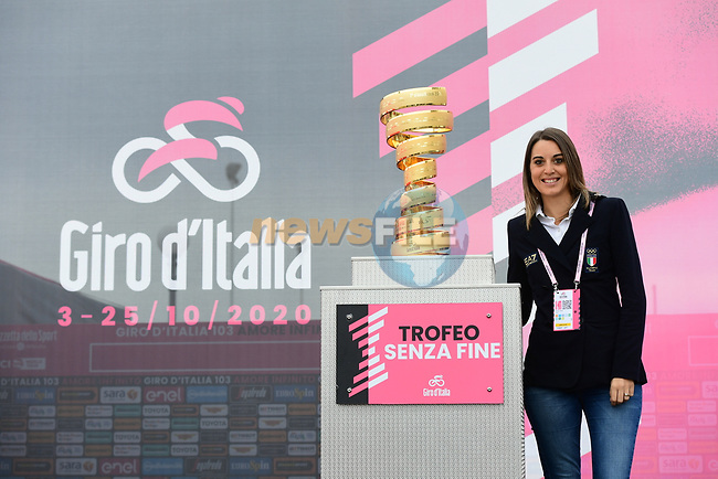 Italian sports shooter Jessica Rossi is the Ambassador of the Corsa Rosa for Stage 12 of the 103rd edition of the Giro d'Italia 2020 running 204km from Cesenatico to Cesenatico, Italy. 15th October 2020.  <br /> Picture: LaPresse/Jennifer Lorenzini | Cyclefile<br /> <br /> All photos usage must carry mandatory copyright credit (© Cyclefile | LaPresse/Jennifer Lorenzini)