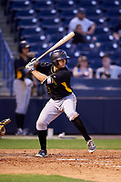 Bradenton Marauders catcher Christian Kelley (27) at bat during a game against the Tampa Yankees on April 15, 2017 at George M. Steinbrenner Field in Tampa, Florida.  Tampa defeated Bradenton 3-2.  (Mike Janes/Four Seam Images)