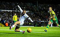 Leeds United's Kemar Roofe can't connect with a cross<br /> <br /> Photographer Alex Dodd/CameraSport<br /> <br /> The EFL Sky Bet Championship - Leeds United v Norwich City - Saturday 2nd February 2019 - Elland Road - Leeds<br /> <br /> World Copyright © 2019 CameraSport. All rights reserved. 43 Linden Ave. Countesthorpe. Leicester. England. LE8 5PG - Tel: +44 (0) 116 277 4147 - admin@camerasport.com - www.camerasport.com