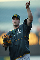 Graham Koonce of the Oakland Athletics during a 2003 season MLB game at Angel Stadium in Anaheim, California. (Larry Goren/Four Seam Images)