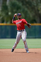 GCL Twins third baseman Jesus Feliz (1) throws to first base during a Gulf Coast League game against the GCL Pirates on August 6, 2019 at Pirate City in Bradenton, Florida.  GCL Twins defeated the GCL Pirates 1-0 in the second game of a doubleheader.  (Mike Janes/Four Seam Images)