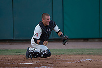 Visalia Rawhide catcher Daulton Varsho (9) prepares to apply the tag to Nate Mondou (not pictured) during a California League game against the Stockton Ports at Visalia Recreation Ballpark on May 8, 2018 in Visalia, California. Stockton defeated Visalia 6-2. (Zachary Lucy/Four Seam Images)