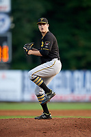 Bristol Pirates starting pitcher Colin Selby (49) delivers a pitch during a game against the Bluefield Blue Jays on July 26, 2018 at Bowen Field in Bluefield, Virginia.  Bristol defeated Bluefield 7-6.  (Mike Janes/Four Seam Images)