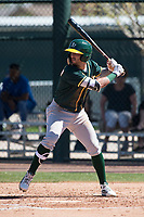 Oakland Athletics right fielder Luis Barrera (5) during a Minor League Spring Training game against the Chicago Cubs at Sloan Park on March 19, 2018 in Mesa, Arizona. (Zachary Lucy/Four Seam Images)