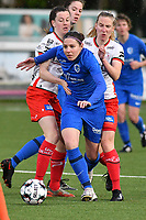 Lorene Martin (6) of KRC Genk with Summer Rogiers (8) of Zulte Waregem and Laura Vervacke (20) of Zulte Waregem pictured during a female soccer game between  Racing Genk Ladies and SV Zulte-Waregem on the 7 th matchday of play off 2 in the 2020 - 2021 season of Belgian Scooore Womens Super League , friday 14 th of May 2021  in Genk , Belgium . PHOTO SPORTPIX.BE   SPP   JILL DELSAUX