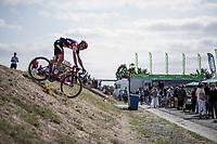 Francisco Ventoso (ESP/BMC) taking a shortcut to the pre stage sign on. <br /> <br /> Binckbank Tour 2018 (UCI World Tour)<br /> Stage 7: Lac de l'eau d'heure (BE) - Geraardsbergen (BE) 212.7km
