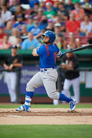 South Bend Cubs designated hitter Michael Cruz (8) follows through on a swing during a game against the Kane County Cougars on July 21, 2018 at Northwestern Medicine Field in Geneva, Illinois.  South Bend defeated Kane County 4-2.  (Mike Janes/Four Seam Images)