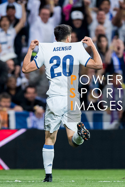 Marco Asensio Willemsen of Real Madrid celebrates during their 2016-17 UEFA Champions League Quarter-finals second leg match between Real Madrid and FC Bayern Munich at the Estadio Santiago Bernabeu on 18 April 2017 in Madrid, Spain. Photo by Diego Gonzalez Souto / Power Sport Images