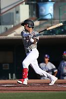 Jeremy Arocho (2) of the Inland Empire 66ers bats against the Stockton Ports at San Manuel Stadium on June 27 2021 in San Bernardino, California. (Larry Goren/Four Seam Images)