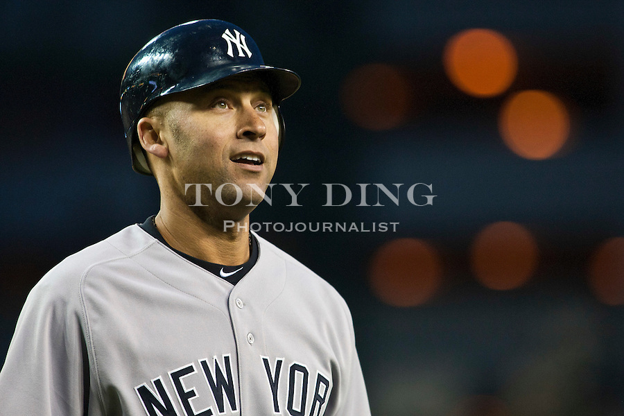 2 May 2011: New York Yankees shortstop Derek Jeter looks up to the stands after striking out at bat, during the New York Yankees at Detroit Tigers Major League Baseball game at Comerica Park, in Detroit, Michigan. The Yankees won 5-3. (Tony Ding/Icon SMI)