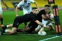 South's Jordie Barrett scores during the rugby match between North and South at Sky Stadium in Wellington, New Zealand on Saturday, 5 September 2020. Photo: Dave Lintott / lintottphoto.co.nz
