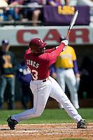 South Carolina second baseman Travis Jones (33) follows through on his swing versus LSU at Sarge Frye Stadium in Columbia, SC, Thursday, March 18, 2007.