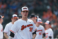 Oregon State Beavers pitcher Mitchell Verburg (32) during a game against the New Mexico Lobos on February 15, 2019 at Surprise Stadium in Surprise, Arizona. Oregon State defeated New Mexico 6-5. (Zachary Lucy/Four Seam Images)