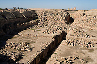 Sabratha, Libya, North Africa - Roman ruins.  Ampitheater, 2nd Century,  reconstructed 1920s.