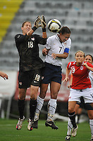 US goalkeeper #18 Nicole Barnhart and US Captain #7 Shannon Boxx collide while going after a Norwegian cross during a '10 Algarve Cup game in Olhao, Portugal.