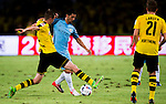 SHENZHEN - JULY 28: Manchester City striker Nolito Agudo (c) contests the ball against Borussia Dortmund midfielder Sven Bender (l) during the match between Borussia Dortmund vs Manchester City FC at the 2016 International Champions Cup China match at the Shenzhen Stadium on 28 July 2016 in Shenzhen, China. (Photo by Power Sport Images/Getty Images)
