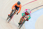 Sandor Szalontay of the Hungary team and Harrie Lavreysen of the Netherlands team compete in the Men's Sprint 1/16 Finals as part of the 2017 UCI Track Cycling World Championships on 14 April 2017, in Hong Kong Velodrome, Hong Kong, China. Photo by Chris Wong / Power Sport Images