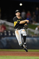 Bradenton Marauders third baseman Walker Gourley (5) throws to first during a game against the Charlotte Stone Crabs on April 4, 2014 at Charlotte Sports Park in Port Charlotte, Florida.  Bradenton defeated Charlotte 9-1.  (Mike Janes/Four Seam Images)
