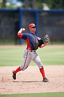GCL Nationals third baseman Colton Pogue (10) throws to first base during a game against the GCL Astros on August 6, 2018 at FITTEAM Ballpark of the Palm Beaches in West Palm Beach, Florida.  GCL Astros defeated GCL Nationals 3-0.  (Mike Janes/Four Seam Images)