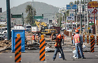 Trabajos de pavimentación en el bulevar Clutier, Salida a Guaymas