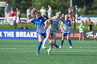 Boston, MA - Saturday June 24, 2017: Morgan Andrews and Kristen Hamilton during a regular season National Women's Soccer League (NWSL) match between the Boston Breakers and the North Carolina Courage at Jordan Field.