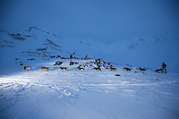 Joar Leifseth Ulsomon the trail in the Alaska Range at the summit of Rainy Pass  on the way to Rohn from the Rainy Pass checkpoint during Iditarod 2016.  Alaska.  March 07, 2016.  <br /> <br /> Photo by Jeff Schultz (C) 2016 ALL RIGHTS RESERVED
