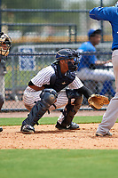 GCL Yankees East catcher Hemmanuel Rosario (11) awaits the pitch in front of home plate umpire David Cruz during the second game of a doubleheader against the GCL Blue Jays on July 24, 2017 at the Yankees Minor League Complex in Tampa, Florida.  GCL Yankees East defeated the GCL Blue Jays 7-3.  (Mike Janes/Four Seam Images)