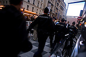 Paris, France.May 6, 2007..Heavy armed groups of police outside the party rally for newly elected right-wing UMP party presidential candidate Nicolas Sarkozy at Salle Gaveau. Sarkozy claimed 53% of the vote.....