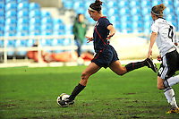 USA forward Lauren Cheney strikes a shot on goal.  The USA captured the 2010 Algarve Cup title by defeating Germany 3-2, at Estadio Algarve on March 3, 2010.