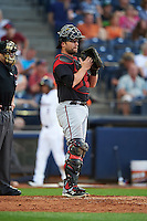 Richmond Flying Squirrels catcher Steven Lerud (19) during a game against the Akron RubberDucks on July 26, 2016 at Canal Park in Akron, Ohio .  Richmond defeated Akron 10-4.  (Mike Janes/Four Seam Images)