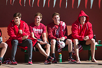 STANFORD, CA - February 17, 2018: Team at Avery Aquatic Center. The Stanford Cardinal defeated the California Golden Bears 151-149 on Senior Day.