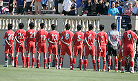 China starting eleven team during their national anthem. The USA defeated China, 4-1, in an international friendly at Spartan Stadium, San Jose, CA on June 2, 2007.
