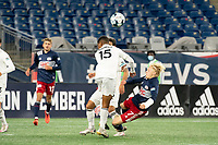 FOXBOROUGH, MA - OCTOBER 09: Modesto Mendez #15 of Fort Lauderdale CF and Connor Presley #7 of New England Revolution II collide in a tackle during a game between Fort Lauderdale CF and New England Revolution II at Gillette Stadium on October 09, 2020 in Foxborough, Massachusetts.