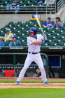 Iowa Cubs first baseman Jim Adduci (17) at bat during a Pacific Coast League game against the San Antonio Missions on May 2, 2019 at Principal Park in Des Moines, Iowa. Iowa defeated San Antonio 8-6. (Brad Krause/Four Seam Images)