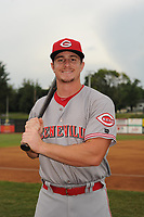 Luke Berryhill (46) of the Greeneville Reds poses for a photo prior to a game against the Bristol Pirates at Boyce Cox Field on July 31, 2019 in Bristol, Virginia. The Pirates defeated the Reds 13-3. (Tracy Proffitt/Four Seam Images)