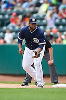Columbus Clippers first baseman Jesus Aguilar (30) during a game against the Lehigh Valley IronPigs on May 12, 2016 at Huntington Park in Columbus, Ohio.  Lehigh Valley defeated Columbus 2-1.  (Mike Janes/Four Seam Images)