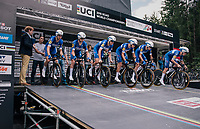 Team Quickstep Floors off the start ramp<br /> <br /> UCI MEN'S TEAM TIME TRIAL<br /> Ötztal to Innsbruck: 62.8 km<br /> <br /> UCI 2018 Road World Championships<br /> Innsbruck - Tirol / Austria