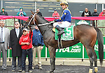 Nickname (no. 5), ridden by Javier Castellano and trained by Steven Asmussen, wins the 68th running of the grade 1 Frizette Stakes for two year old fillies on October 03, 2015 at Belmont Park in Elmont, New York.  (Bob Mayberger/Eclipse Sportswire)