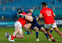 23th April 2021; RDS Arena, Dublin, Leinster, Ireland; Rainbow Cup Rugby, Leinster versus Munster; Andrew Porter of Leinster is tackled by Chris Farrell of Munster