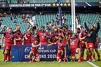 22nd May 2021; Twickenham, London, England; European Rugby Champions Cup Final, La Rochelle versus Toulouse; Toulouse lift the winners trophy after they won the game by a score of 22-17