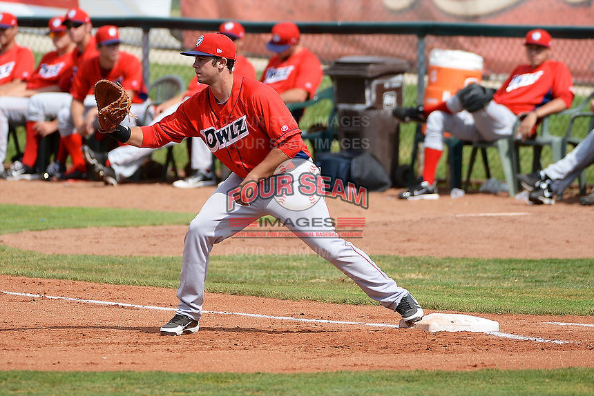Eric Aguilera (33) of the Orem Owlz on defense against the Ogden Raptors at Lindquist Field on July 07, 2013 in Ogden Utah. (Stephen Smith/Four Seam Images)