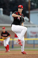 Batavia Muckdogs pitcher Sean Watson #41 during the second game of a doubleheader against the Mahoning Valley Scrappers at Dwyer Stadium on August 22, 2011 in Batavia, New York.  Mahoning Valley defeated Batavia 11-3.  (Mike Janes/Four Seam Images)