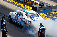 Sep 16, 2017; Concord, NC, USA; NHRA pro stock driver Tanner Gray during qualifying for the Carolina Nationals at zMax Dragway. Mandatory Credit: Mark J. Rebilas-USA TODAY Sports