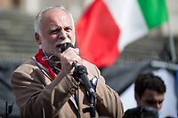 """Fabrizio De Sanctis (President of Rome's branch of Associazione Nazionale Partigiani d'Italia ANPI - National Association of Italian Partizans, Members of the Italian Resistance in WWII).<br /> <br /> Rome, Italy. 15th May, 2021. Today, thousands of Pro-Palestinian activists and members of the public gathered in Piazza dell'Esquilino to mark the 73rd Anniversary of """"Nakba"""" («The 1948 Palestinian exodus, also known as the Nakba literally """"disaster"""", """"catastrophe"""", or """"cataclysm"""", occurred when more than 700,000 Palestinian Arabs fled or were expelled from their homes, during the 1948 Palestine war […]», 1.); to show support and solidarity to the Palestinian People; to protest against the crisis between Palestinian people and the Israeli armed forces which began on the 6th of May 2021 with the decision of the Israeli Supreme Court to evict four Palestinian families from the East Jerusalem neighborhood of Sheikh Jarrah, part of the Palestinian Territories under international law. The protests quickly escalated in an asymmetric conflict between Israeli Air Forces airstrikes and Hamas' rockets fired from the Gaza Strip which killed at least 190 Palestinians, including 41 children, and 10 Israelis, including 2 children. The demonstration in Rome - organised by the Palestinian Community of Rome and Lazio (2.) - culminated with a peaceful march which ended outside the Colosseum, while Similar demonstrations were held in the major cities across the globe.<br /> <br /> Footnotes & Links:<br /> 1. (Source Wikipedia.org. ENG) https://en.wikipedia.org/wiki/1948_Palestinian_exodus""""_Palestinian_exodus<br /> 2. https://www.facebook.com/groups/sandoga/<br /> Other Organizations involved: http://www.assopacepalestina.org/ & http://bit.do/frfpo<br /> For Live Updates (Source, Aljazeera.com ENG): https://www.aljazeera.com/news/2021/5/16/more-deaths-gaza-israel-launches-most-intense-raids-yet"""