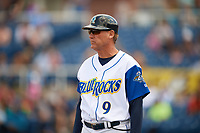 Wilmington Blue Rocks manager Jamie Quirk (9) during the first game of a doubleheader against the Frederick Keys on May 14, 2017 at Daniel S. Frawley Stadium in Wilmington, Delaware.  Wilmington defeated Frederick 10-2.  (Mike Janes/Four Seam Images)