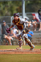 Central Michigan Chippewas catcher Robert Greenman (23) during a game against the Boston College Eagles on March 8, 2016 at North Charlotte Regional Park in Port Charlotte, Florida.  Boston College defeated Central Michigan 9-3.  (Mike Janes/Four Seam Images)
