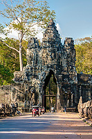 Cambodia, Angkor Thom, South Gate.  Late Afternoon Traffic.
